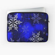 """Royal Blue Snowflake Motif"" Laptop Sleeve by HavenDesign | Redbubble Back To Black, Laptop Case, Laptop Sleeves, Snowflakes, Royal Blue, Stuff To Buy, Snow Flakes"