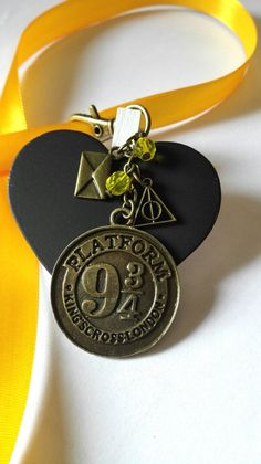 Bijou de sac Harry Potter plateforme 9 3/4 king's cross bronze magique perles…