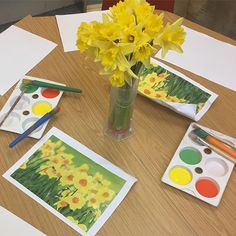 Spring flowers provocation and just because I'm Welsh Spring flowers provocation and … Nursery Activities, Painting Activities, Easter Activities, Montessori Activities, Spring Activities, Reggio, Curiosity Approach Eyfs, Spring Painting, Painting Art
