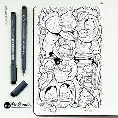 Strawberries Doodle by #piccandle