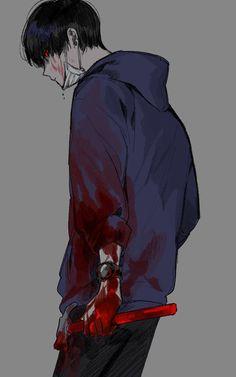 Yandere Boy, Yandere Anime, Sad Anime, Chica Anime Manga, Anime Love, Anime Art, Blood Anime, Apocalypse Art, Dark Anime Guys