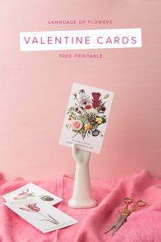 5 Last-Minute DIY Ideas for Saying Happy Valentine's Day - Language of Flowers Printable Cards Free Valentine Cards, Funny Valentines Cards, Valentines For Kids, Valentine Day Crafts, Valentine Ideas, Free Printable Cards, Free Printables, Floral Printables, Valentines Flowers