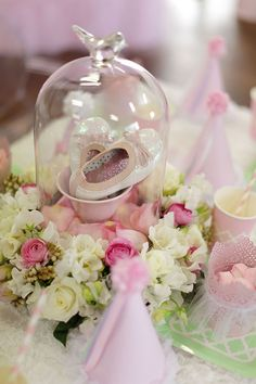 Sparkly Shoes in glass cloche