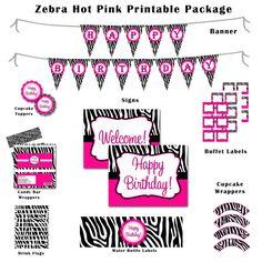 DIY Printable Zebra Birthday or Babyshower Zebra Birthday, Girl Birthday, Birthday Ideas, Zebra Party, Birthday Packages, Pamper Party, 13th Birthday Parties, Pink Zebra, Party Time
