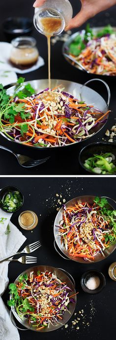 Unbelievable Amazingly delicious fusion of Western & Asian flavors. Sweet, savory & a lil tang w/ peanut butter & ginger umami. The post Asian Slaw With Peanut-Ginger Dressing appeared first on Kiynos Recipes . Asian Coleslaw Dressing, Asian Slaw Salad, Asian Salads, Vegetable Recipes, Vegetarian Recipes, Cooking Recipes, Healthy Recipes, Keto Recipes, Comidas Light