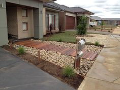 Beautiful Contemporary Front Yards – Melton Merbau, Landscaping, Melton, VIC, - front yard landscaping ideas on a budget Driveway Landscaping, Landscaping With Rocks, Landscaping Ideas, Backyard Ideas, Outdoor Ideas, Outdoor Landscaping, Outdoor Spaces, Landscape Plans, Landscape Design
