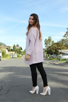 Collarless Coat and Ripped Knee Jeans - pointed pumps, pale pink coat, stripe crop top, nixon watch, stella and dot, white heels, fashion blog, winter fashion by ellie connard  LONGHAIRAFFAIR.COM