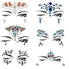 Mermaid Face Gems – Bindi Temporary Stickers Festival Face Jewels – Perfect Rhinestone Face Jewelry for A Dress-Up or Costume Party -By Amazing Tot (Set of Festival Gems, Festival Face Jewels, Temporary Face Tattoos, Angel And Devil Costume, Rhinestone Makeup, Face Jewellery, Jewelry, Jewel Tattoo, Face Gems