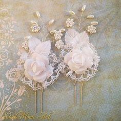 Horquillas para novia, horquilla boda, horquilla perlas, accesorios pelo boda, horquillas flor, peina novia, peina perlas, horquilla floral de SweetMoonArt en Etsy
