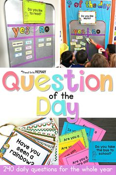 Need a fun classroom management activity to get kids focused and ready for the day? Teachers can set-up a DIY Question of the Day board. Kids will love reading the different questions posted each school day! Preschool Classroom Setup, New Classroom, Classroom Environment, Classroom Activities, Classroom Organization, Kindergarten Classroom Management, Preschool Ideas, Classroom Ideas For Teachers, Preschool Prep