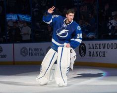 TAMPA, FL - JANUARY 12: Goalie Ben Bishop #30 of the Tampa Bay Lightning celebrates the win against the Buffalo Sabres at Amalie Arena on January 12, 2017 in Tampa, Florida. (Photo by Scott Audette/NHLI via Getty Images)