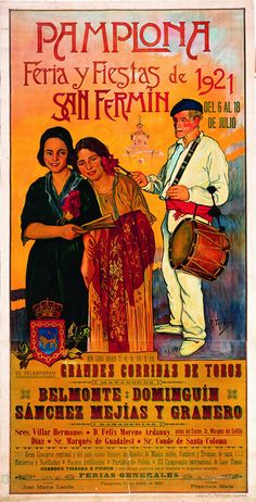 Art Print Spain Pamplona Bull-running 1921 Travel Poster - Print 10 x