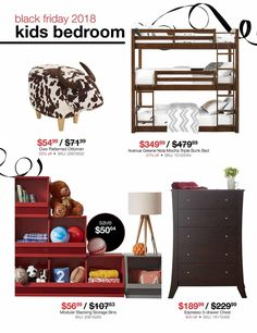 Black Friday News, Triple Bunk, Storage Bins, Chest Of Drawers, Bunk Beds, Kids Bedroom, Coupons, Ottoman, Ads