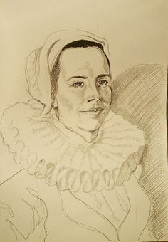 Portrait sketch of a 16th century reenactor by Living History portraits.