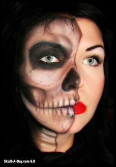 2012 Halloween Make-up Looks: Crystal Overland Half Skull Makeup, Skeleton Makeup, Pirate Halloween, Halloween Make Up, Halloween Costumes, Halloween Rules, Halloween Tutorial, Hallowen Ideas, Theatrical Makeup