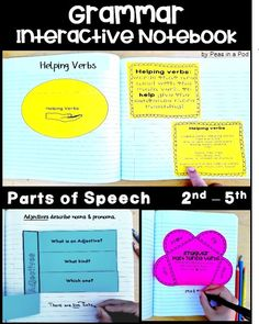 Grammar Interactive Notebooks provide fun activities to practice and apply grammar skills. Grammar Notebook, Interactive Writing Notebook, Interactive Notebooks, Grammar Activities, Interactive Activities, Fun Activities, Good Grammar, Grammar Skills, Parts Of Speech Worksheets