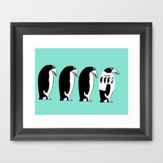 Penguins Framed Art Print by Verene Krydsby - $39.00 Framed Art Prints, Penguins, Animals, Home Decor, Animales, Decoration Home, Animaux, Room Decor, Penguin