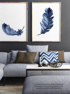 Impression de plume bleu royal ensemble 2 plumes aquarelle peinture, abstrait Salon décor, bébé garçon douche cadeau chambre d'enfant Kids Wall Art Print
