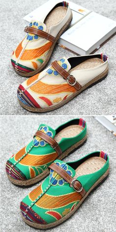 US$17.28 Colorful Embroidered Buckle Folkways Backless Loafers For Women