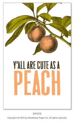 Southern comfort: Send an extra sweet message via this charming stationery, adorned with a Georgia peach. Since Breathless Paper Co. Southern Women, Southern Belle, Southern Charm, Southern Living, Greeting Card Companies, Greeting Cards, Words Of Wisdom Quotes, Georgia On My Mind, Country Girls