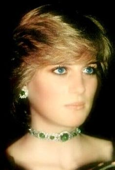 The divine Diana wearing: The Queen Mary Emeralds which she had made into a Choker
