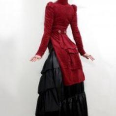Dark red open-bust tailcoat from steampunkcouture.com | Modern