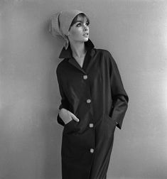 Jean Shrimpton in a mackintosh by John French, by John French