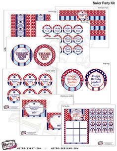 Red Sailor/Nautical Party Kit by MetroEvents on Etsy, $28.98