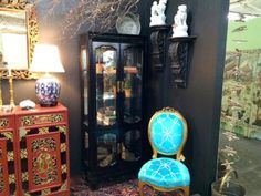 Black Glass Front Cabinet With Light