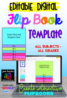Create your own digital Flip Book with this easy to use template for Google Slides. The template makes a flip book with up to 6 tabs and is fully editable. Just add your content.  Full instructions included. Great for any grade and any subject, distance learning or traditional classroom! Flip Book Template, College Math, We Are Teachers, Insert Text, Calculus, Multimedia, Distance, Classroom Ideas