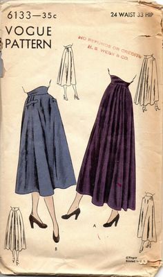 Vogue 6133 1940s Misses Circular Flared Skirt Pattern in two lengths with contour waistband womens vintage sewing pattern by mbchills