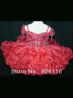 Ball Gown Spagetti Straps V-neck Short/Mini Red Organza Beaded Baby Infant Toddler Little Girls Pageant Dresses Gown