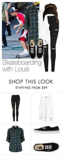 """""""Skateboarding with Louis"""" by style-with-one-direction ❤ liked on Polyvore featuring Topshop, Vans, OneDirection, 1d, louistomlinson and louis tomlinson one direction 1d"""