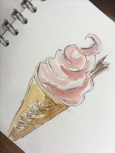 Watercolour and pen ice cream, experimenting while in the Lake District.
