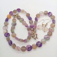 Shades of Purple Fluorite 3 Piece Jewellery Set £30.00