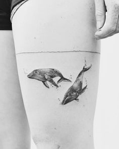 Black Ink Swimming Whales by Jasper Andres