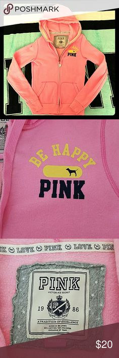 Pink Hoodie Super cute Pink Hoodie with a happy face on the back. Gently worn Victorias Secret Pink Tops Sweatshirts & Hoodies