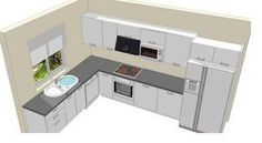 L Shaped Kitchen inspiration for your beloved home. L Shaped Kitchen with Island, and much more in this article to make your home beauty L Shape Kitchen Layout, Kitchen Layout Plans, Kitchen Room Design, Modern Kitchen Design, Home Decor Kitchen, Interior Design Kitchen, Kitchen Walls, Kitchen Cabinets, Küchen Design