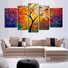 Hand Painted Abstract Tree Oil Painting On Canvas Modern Texture Palette Knife Art 5 Piece Home Decor Wall Picture Sets