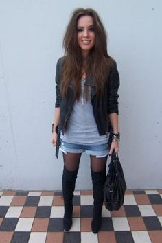 Fashion for fall [love this outfit] [adorable] Tall black boots [v] jean shorts [v] gray t-shirt [need] black blazer [need] black tights [v] bangles [v] black purse [v] <3