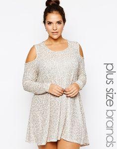 AX Paris Plus Size Cold Shoulder Top in Glitter Knit