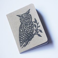 Woodland Owl Linocut Pocket Notebook by HorseAndHare on Etsy
