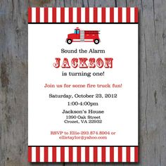 Printable Fire Truck Birthday Party Invite by ThePitterPatterPress, $12.00