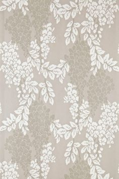 Wisteria (BP 2202) - Farrow & Ball Wallpapers - Wisteria is a classic English floral pattern with its abundant, trailing design of blossoming wisteria. Showing in off white on a taupe brown background - more colours are available. Please request a sample for true colour match.