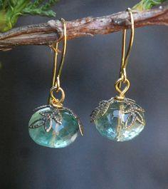 Moss Green Earrings - fluorite earrings, light aqua, teal.. $27.00, via Etsy.