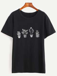 Shop Black Cactus Print T-shirt online. SheIn offers Black Cactus Print T-shirt & more to fit your fashionable needs.