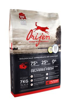 Orijen food for cats and dogs. Made in Canada. Has gotten the Best Dog Food award from Washington D.C. for 3 years in a row.