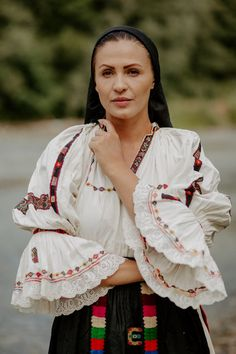 Portul Popular din Valea Arieșului-subzona Ocoliș – Etnotique Folk Costume, Costumes, Kimono Top, Bell Sleeve Top, Sari, Traditional, Embroidery, Moldova, How To Wear