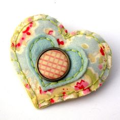 Shabby chic pink gingham felt and fabric brooch. By mollymoodesign at Etsy £10