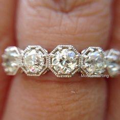 Brilliant Cut 5 Stone Moissanite Engagement Wedding Band Ring In 14k White Gold #MoissaniteRing #FiveStone